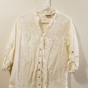 70's Style Lace and Cotton Button Down